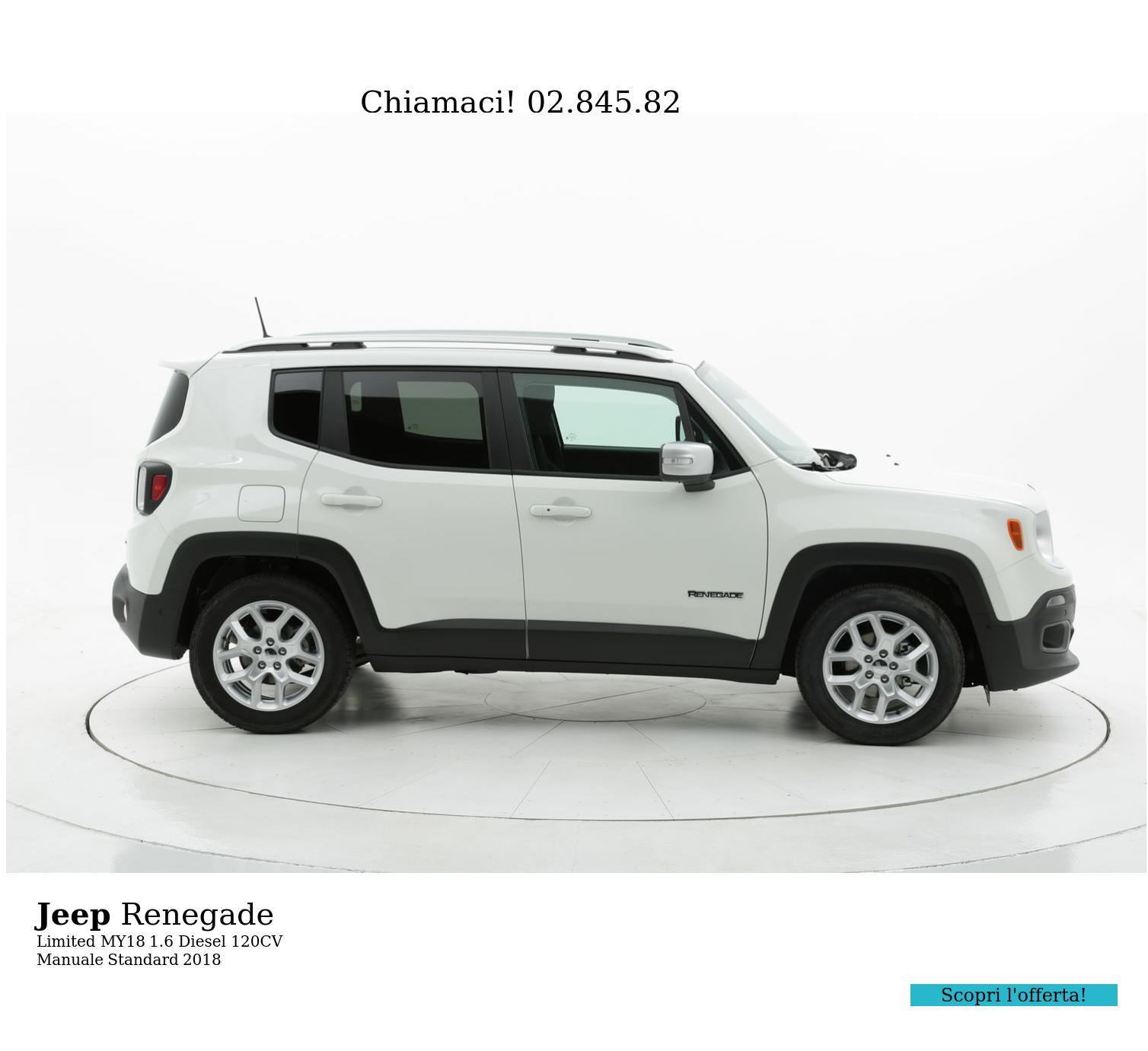 Jeep Renegade Limited MY18 km 0 diesel bianca | brumbrum