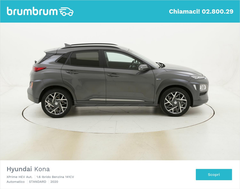 Hyundai Kona XPrime HEV Aut. km 0 ibrido benzina grigia | brumbrum