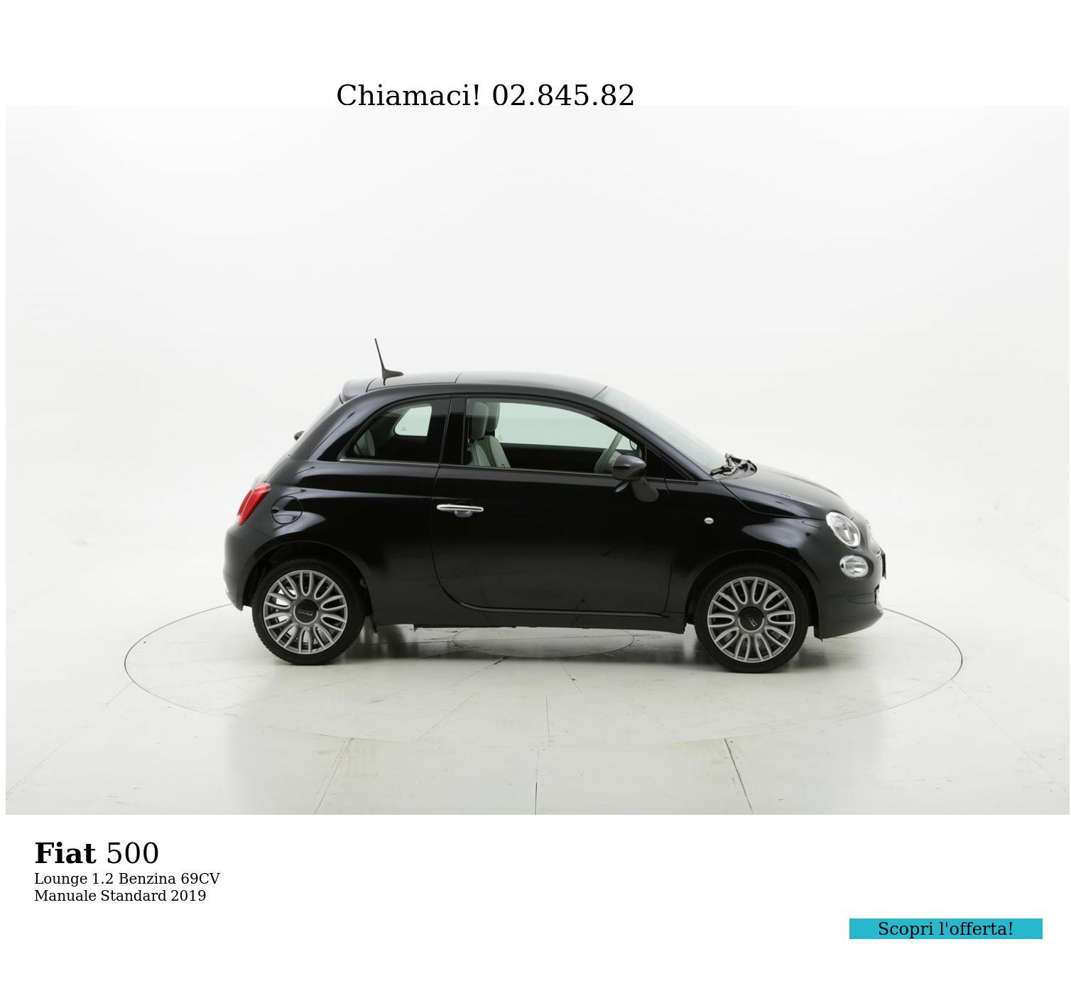 Fiat 500 Lounge km 0 benzina nera | brumbrum