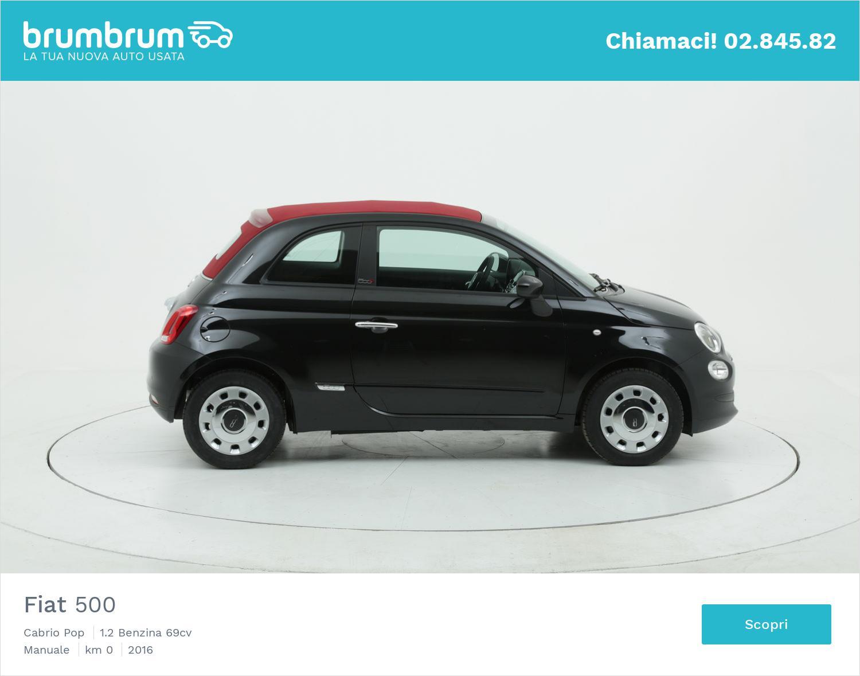 Fiat 500 Cabrio Pop km 0 benzina nera | brumbrum