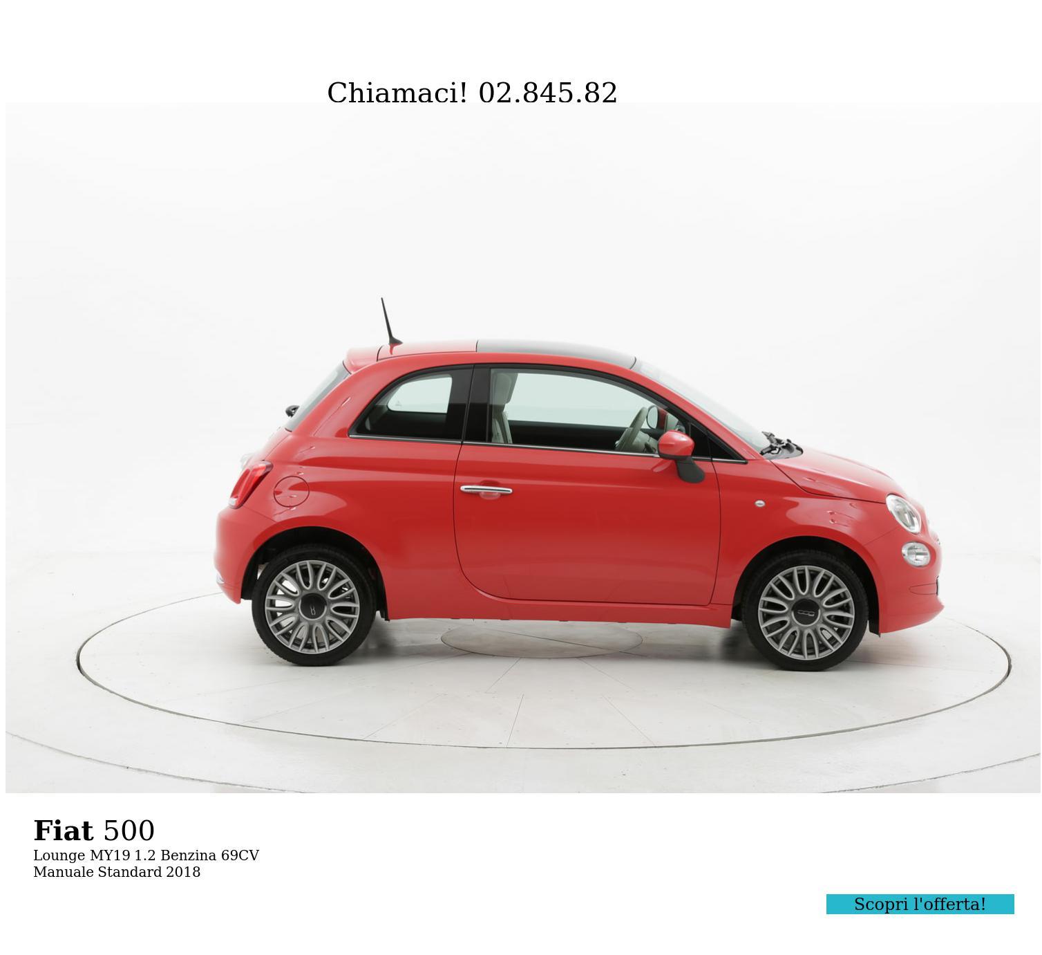 Fiat 500 Lounge MY19 km 0 benzina rossa   brumbrum