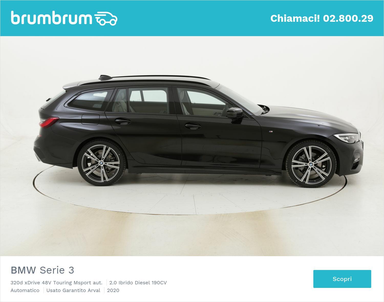BMW Serie 3 320d xDrive 48V Touring Msport aut. km 0 ibrido diesel nera | brumbrum