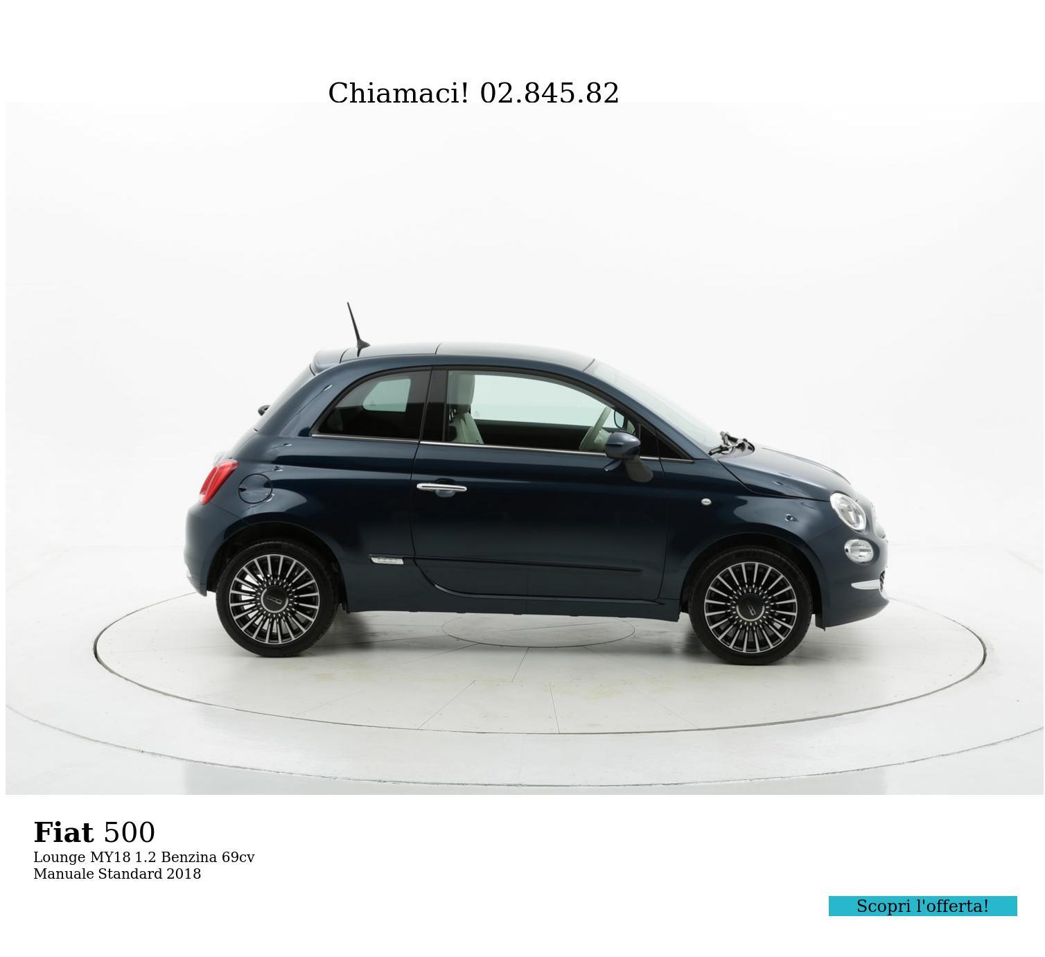 Fiat 500 Lounge MY18 km 0 benzina blu | brumbrum