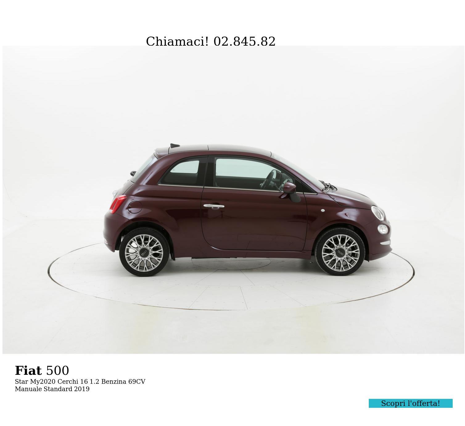 Fiat 500 Star My2020 Cerchi 16 km 0 benzina rossa scura | brumbrum