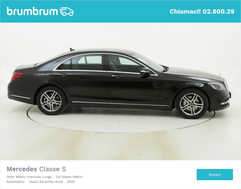 Mercedes Classe S 350d 4Matic Premium Lunga km 0 diesel nera | brumbrum