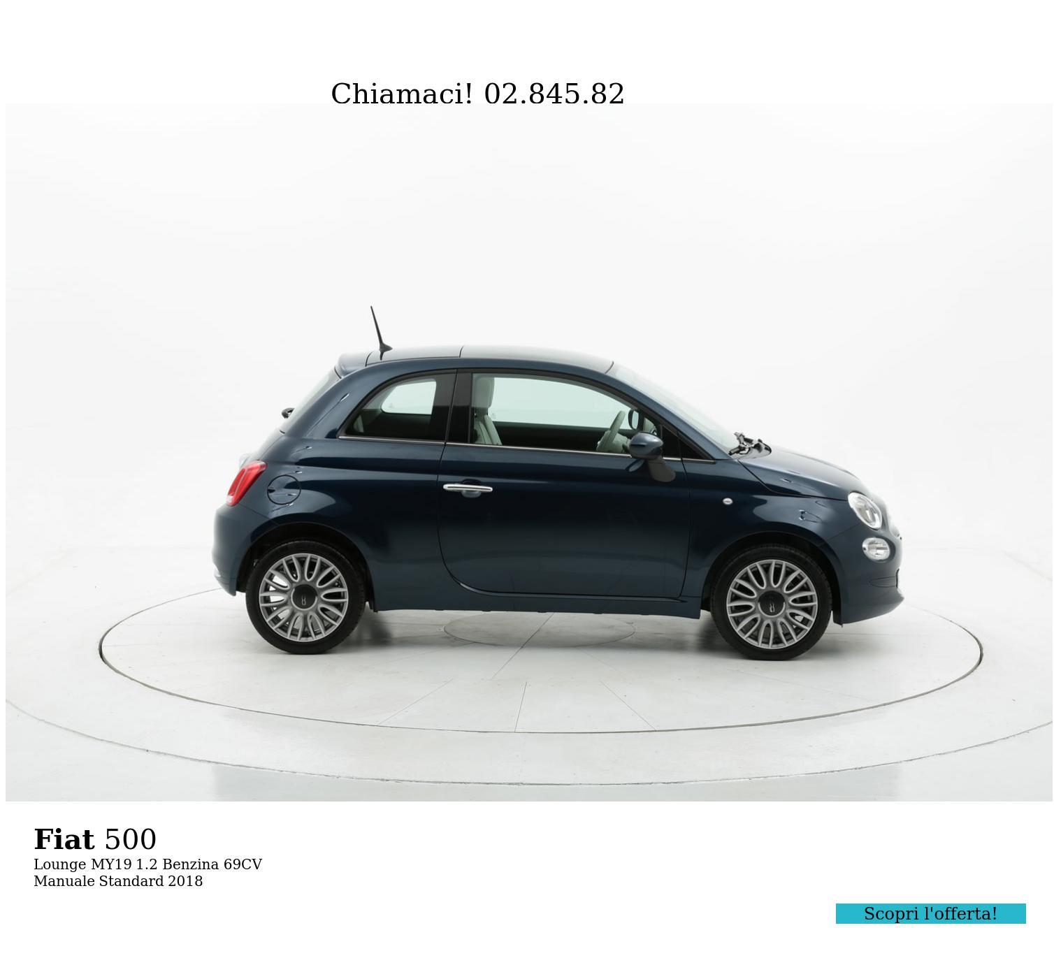 Fiat 500 Lounge MY19 km 0 benzina blu   brumbrum