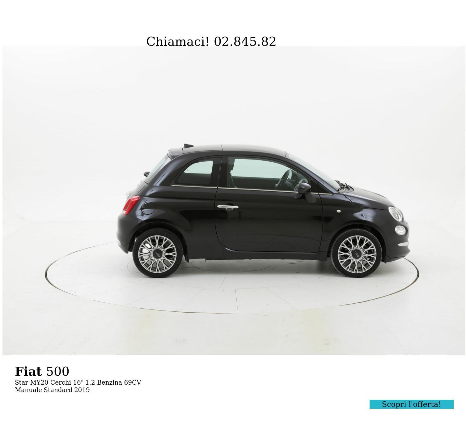"Fiat 500 Star MY20 Cerchi 16"" km 0 benzina nera   brumbrum"