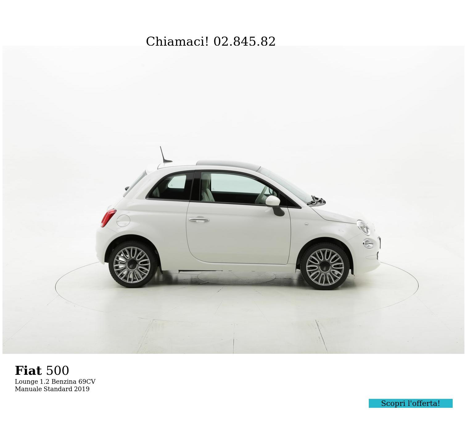 Fiat 500 Lounge km 0 benzina bianca | brumbrum
