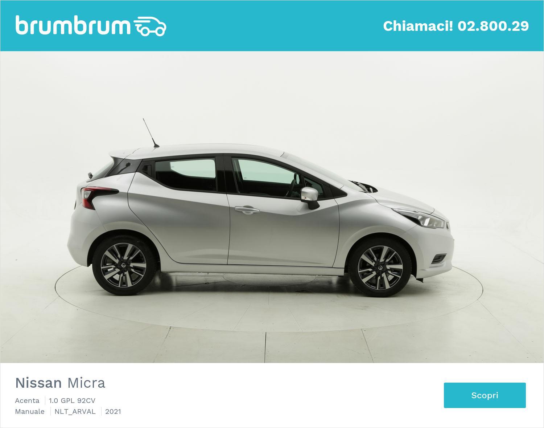 Nissan Micra Acenta gpl argento a noleggio a lungo termine | brumbrum