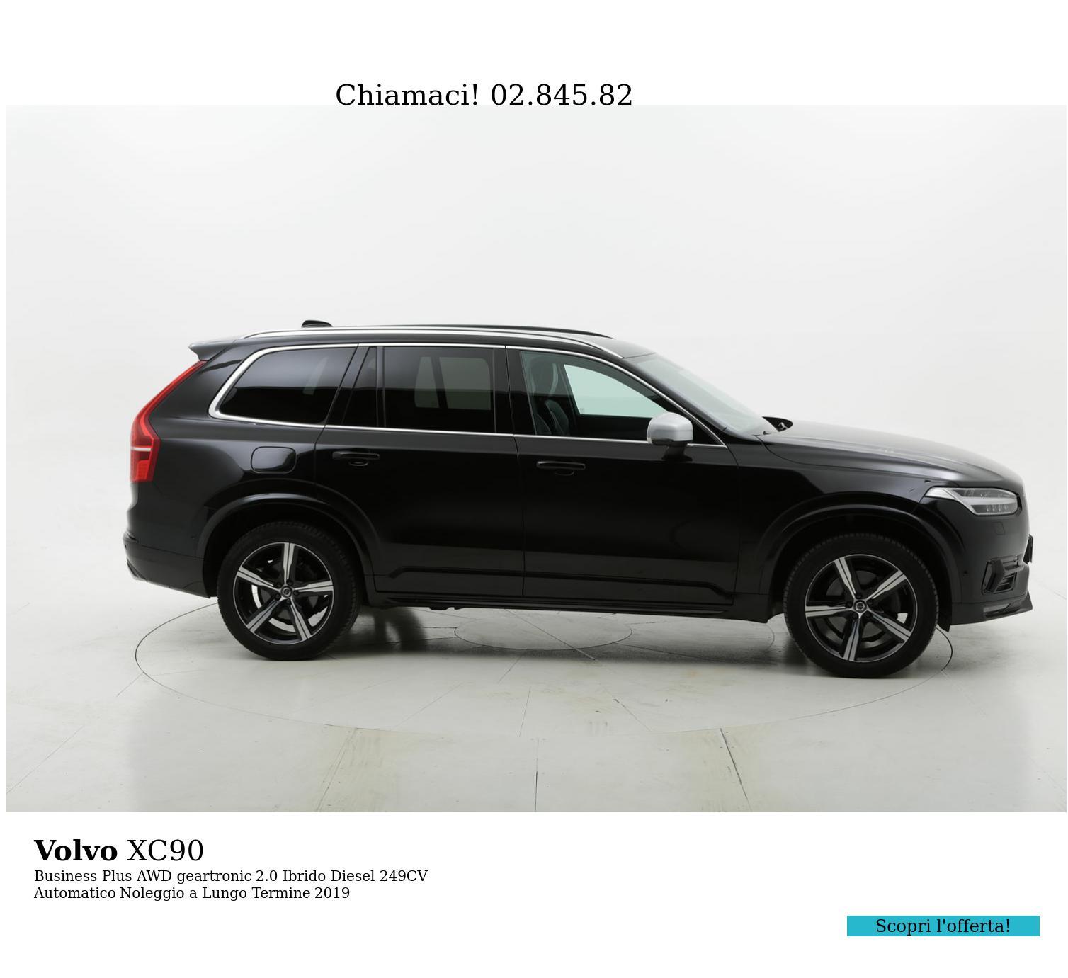 Volvo XC90 Business Plus AWD geartronic ibrido diesel nera a noleggio a lungo termine | brumbrum