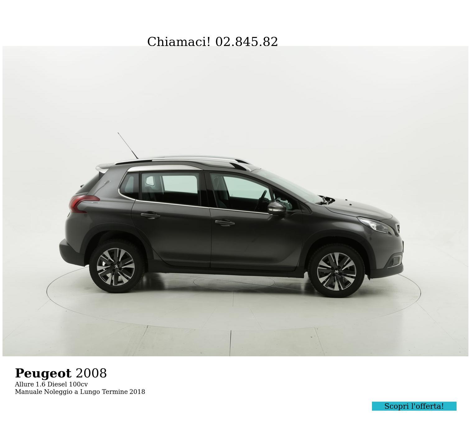 Peugeot 2008 diesel grigia a noleggio a lungo termine | brumbrum